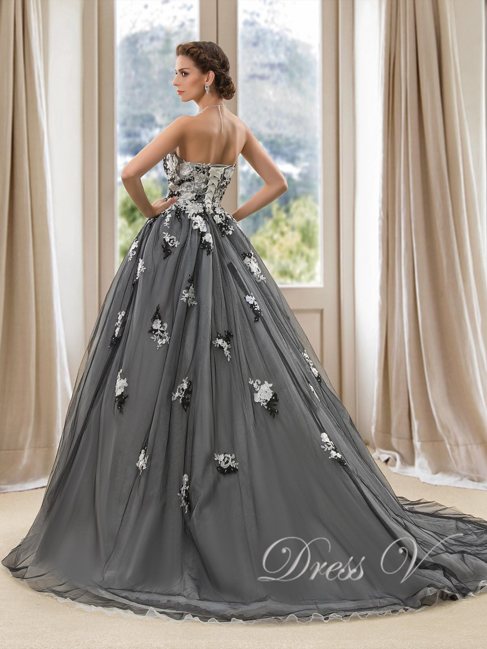 Vintage BlackWedding Gowns Ball Gown Wedding Dresses Sweetheart Lace ...