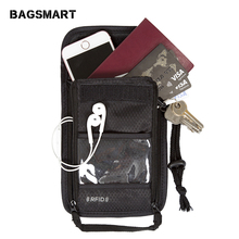 BAGSMART RFID Passport Holder Cover Nylon ID Card Travel Neck Pouch Ticket Pouch Packages Passport Covers Passport Bag Case