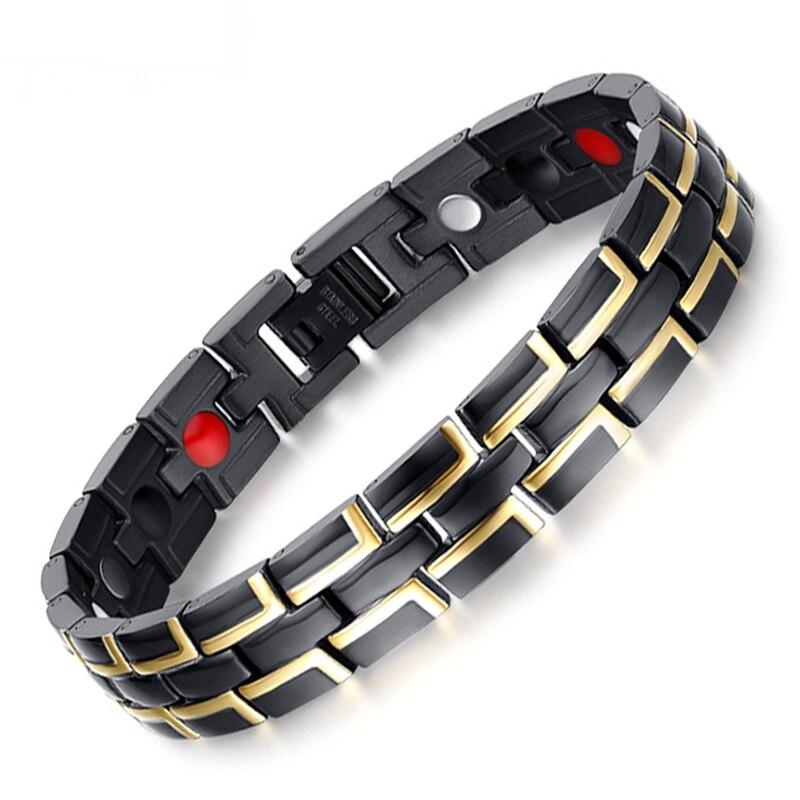 LITTLE FROG Fashion Jewelry Healing FIR Magnetic Stainless Steel Bio Energy Bracelet For Men Blood Pressure Accessory Bracelets