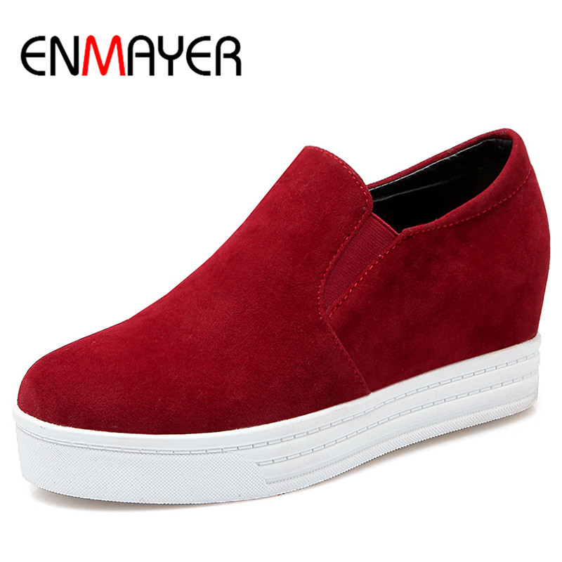 ENMAYER Loafers Round Toe Sex Red Shoes Woman Elastic Band New Flats Ladies Shoes Plus Size 34-43 Casual Shoes in Womens enmayer print round toe plain elastic band shoes for girls horsehair genuine leather flats spring summer closed toe women flats