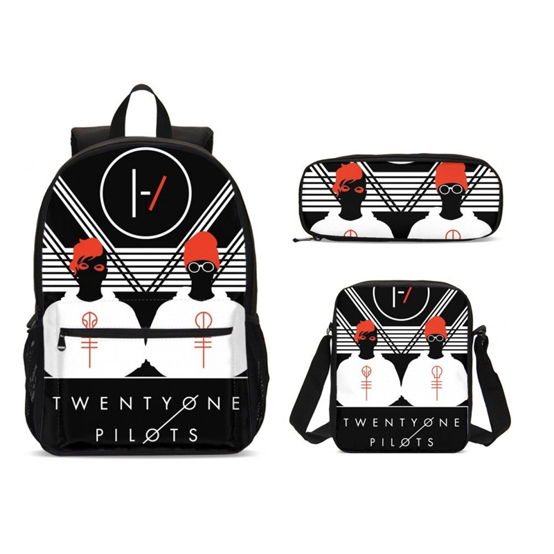3Pcs/Set Portfolio School Bags For Boys Girls Fashion Twenty One Pilots 3D Printing Backpacks Teenager Bookbag Mochila Escolar(China)