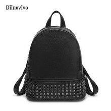 DIINOVIVO Simple Brand Women Designer Rivet Backpack Vintage Girls School Bags Ladies' PU Leather Bagpack Back Pack WHDV0234