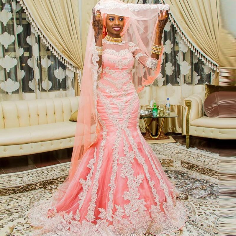 new appearance official images where to buy US $158.76 16% OFF African Style Muslim Mermaid Wedding Dresses with Half  Sleeve Appliqued Nigerian Bridal Gown Covered Vestido de Novia-in Wedding  ...
