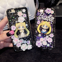 Sailor Moon 3D Kawaii Decoden Whipped Cream Black Phone Case For Galaxy S6 S7 S7 Edge