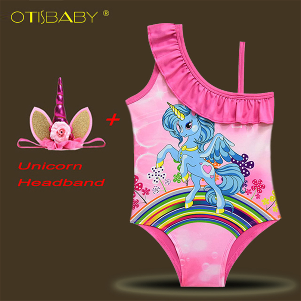 2018 Cute Girls Unicorn Swimwear Girls Pony Printed One Piece Swimsuit Children Halter Swimwear Summer Bikini Unicorn Headband