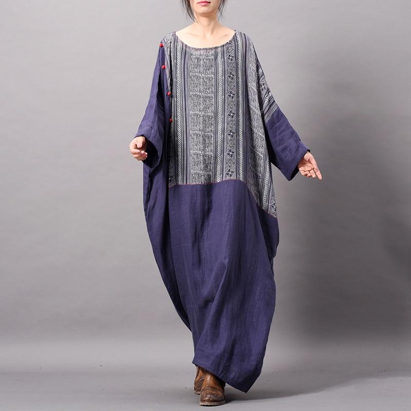 Vintage Patchwork Print Floral Dress For Women Spring Robes Button O Neck Plus Size Women Cloths