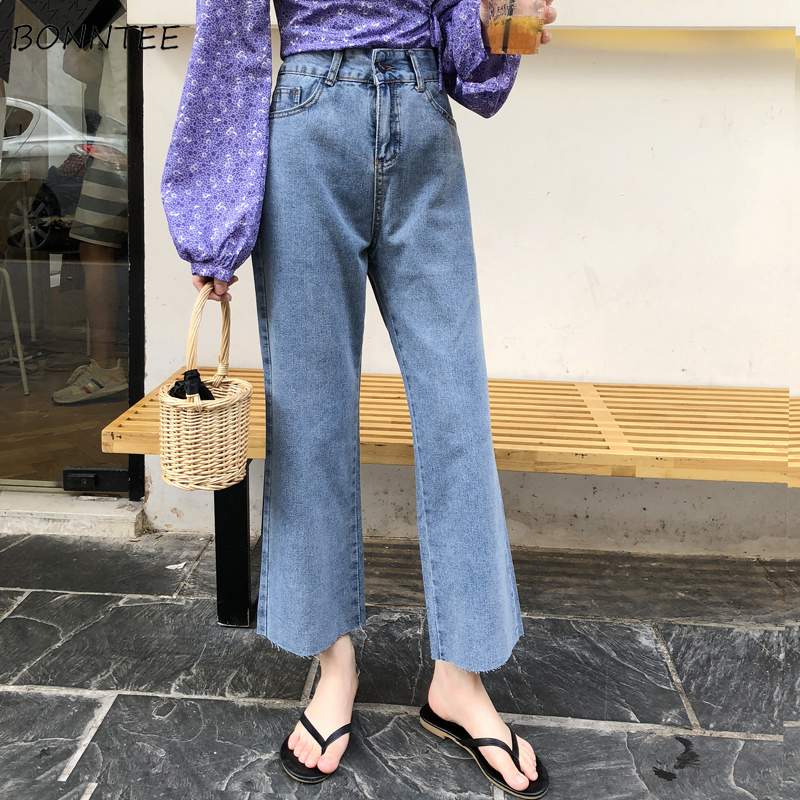 Jeans Women Spring Wide Leg Ankle-Length Retro Clothing Daily Womens High Quality Korean Style Loose Trouser Pockets Ladies Chic