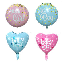 1pcs 18 inch Baby boy girl balloon children birthday party decoration kids baby shower it is boy girl Helium balloon globos(China)