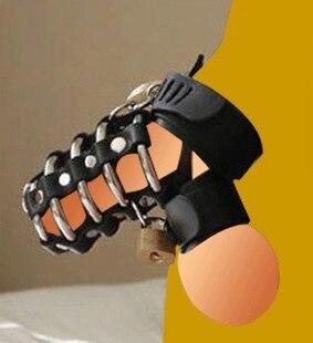 Chasteté serrure En Métal multi anneau en cuir pénis dispositif de verrouillage en métal noir urètre blocage longue section cadenas à clé