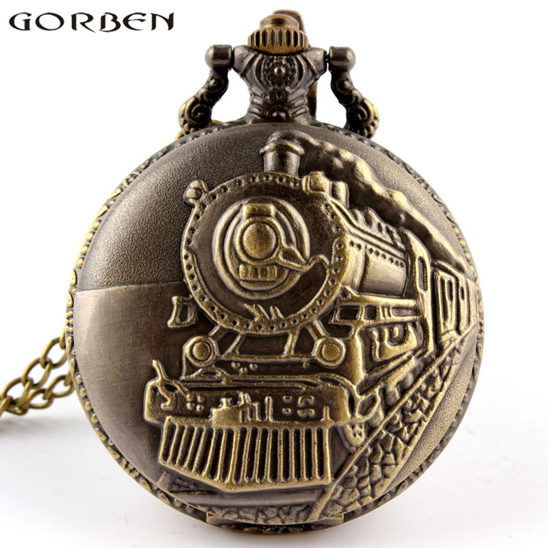 Vintage Steampunk  Charm Steam Train Fob Quartz Pocket Watch Carved Cute Stationary Necklace Chain Pendant Clock Women Men Gift