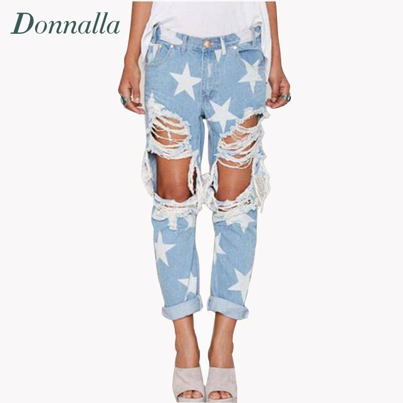 Hole Jeans Women Boyfriend Style Ripped Jeans For Women Pants Stars Print Denim Trousers Summer Style High Street Rock Pants 2017 new summer barajuku boyfriend style denim capri harem pants for women high waist push up fashion ripped hole jeans trousers