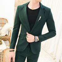 Green Suits Mens Pink Suits Mens Red Slim Fit Suits Party Dress Mens Stage Costumes Two Piece Wedding Tuxedo Blue Smoking Uomo