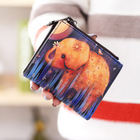 Fashion cartoon wallet short women wallet zipper female purse card holder(Elephant)Birthday gift for girls