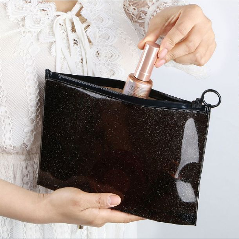 Black Transparent Bath Cosmetic Bag Travel Makeup Case Women Zipper Make Up Organizer Storage Pouch Toiletry Wash beauty Kit Box 3pcs set women transparent cosmetic bag clear zipper travel make up case makeup beauty organizer storage pouch toiletry wash bag