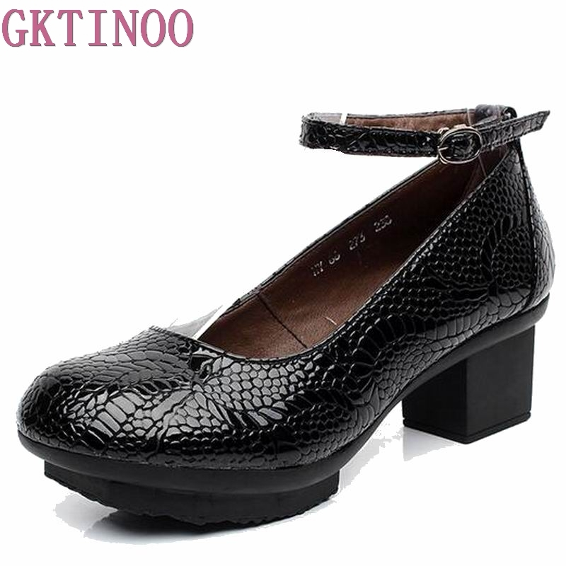 Genuine leather women pumps female strap shallow mouth women's casual shoes OL COMFORTABLE black work shoes high heels HY1402 hot temperament mature black genuine leather printing womens alphabet retro shoes shallow mouth embossed leather pumps