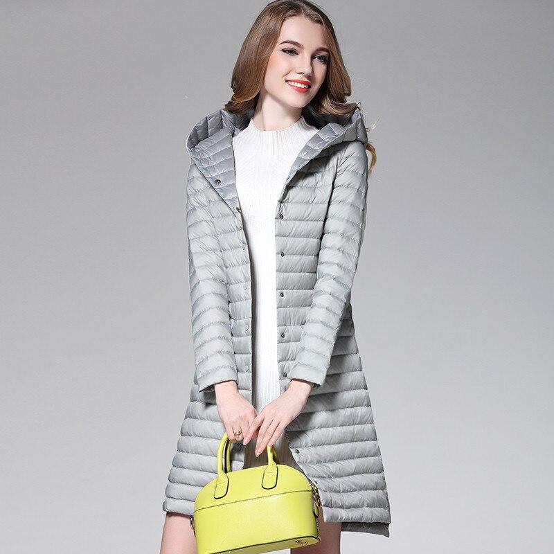 2018 Women White Duck Downs Jacket Autumn Winter Long Hooded Coat Parkas Female Ultra Light Down