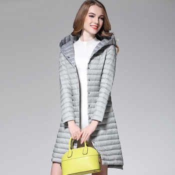 2018 Women White Duck Downs Jacket Autumn Winter Long Hooded Coat Parkas Female Ultra Light Down Coats Outerwear Clothing AB1110 - DISCOUNT ITEM  49% OFF All Category