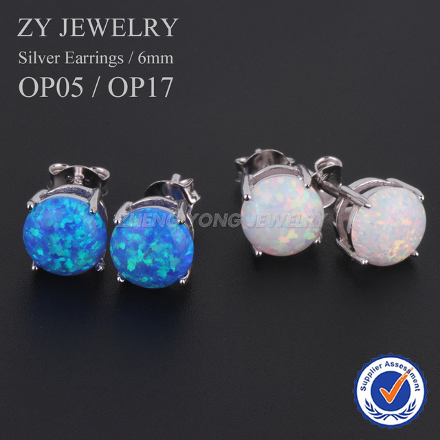 earrings wedding fashion opal blue item beautiful silver party fire sterling white women stud for