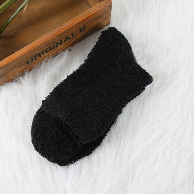 Мужские уютные кашемировые зимние мужские толстые носки зимние теплые пушистые носки-тапочки шерстяные однотонные мужские носки Chaussette Homme Calcetines - Цвет: fleece Black