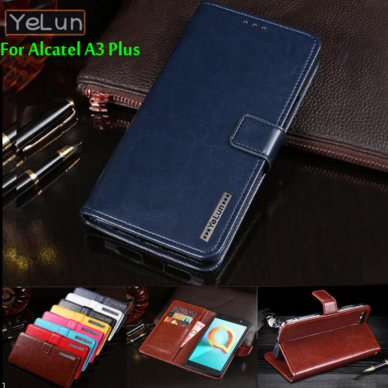 YeLun Case For Alcatel A3 Plus 5011A Luxury Wallet PU Leather Case Stand Flip Card Hold Phone Cover Bags