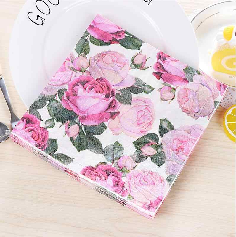 Pink Rose Flowers Romantic Paper Napkins Cafe & Party Tissue Napkins Decoupage Decoration Paper 33cm*33cm 20pcs/pack/lot
