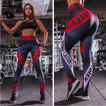 1f99e47225ae Negro Push Up Leggings Deporte Mujer Fitness alta cintura letra rayas  estampado entrenamiento Leggings Taille pantalones moda Broek Dames