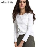 Alien Kitty Çizgili Katı Renk T Shirt Kadın 2017 Sonbahar kadın Uzun Kollu Rahat O-Boyun Astar T-Shirt Tops Yeni moda