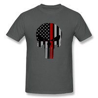 Red Line Flag Punisher Printing Cotton O Neck Short Tshirt Men Style Hip Hop Trend Camiseta