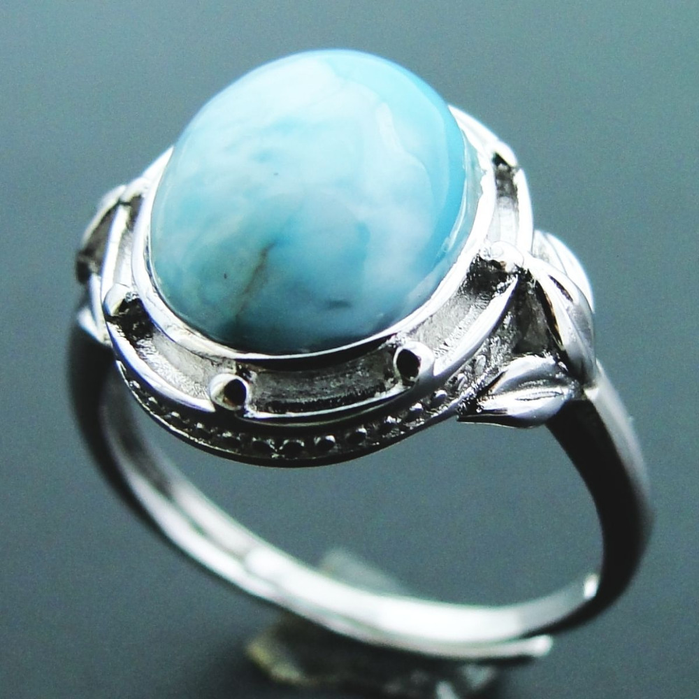 Natural Larimar Ring 925 Sterling Silver Jewelry Vintage Ring Oval 11x9mm Larimar Stone Wedding Rings Women Adjustable Ring Size bestlybuy vintage ring 100% real 925 sterling silver classic cross natural stone adjustable joint ring women men jewelry