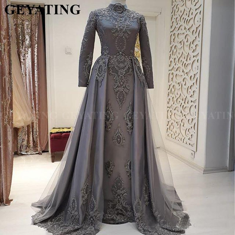 Elegant High Neck Long Sleeves Gray Muslim   Evening     Dress   Arabic Dubai Women Formal Prom   Dresses   2019 Long Plus Size Party Gowns