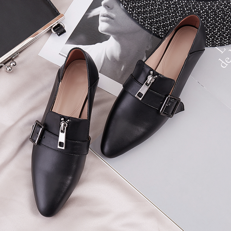 XiuNingYan 2019 Fashion Women Flat Oxford Shoes British Style Vintage Spring Autumn Shoes Soft Cow Leather