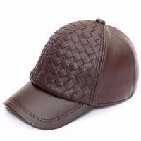 Male Genuine Leather Baseball Cap Men's Autumn Winter Sheepskin Baseball Hat Adult Outdoor Leisure Leather Cap Adjustable B8649