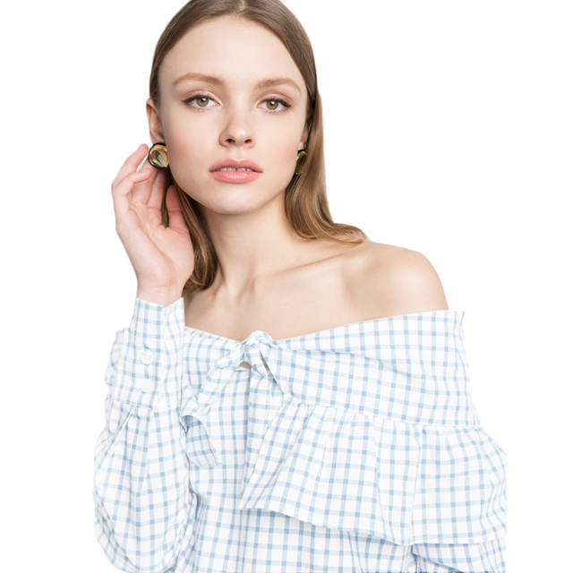 e354c87fa18f34 placeholder Long sleeve blue white gingham blouses for women cute tie front  ruffle off the shoulder tops