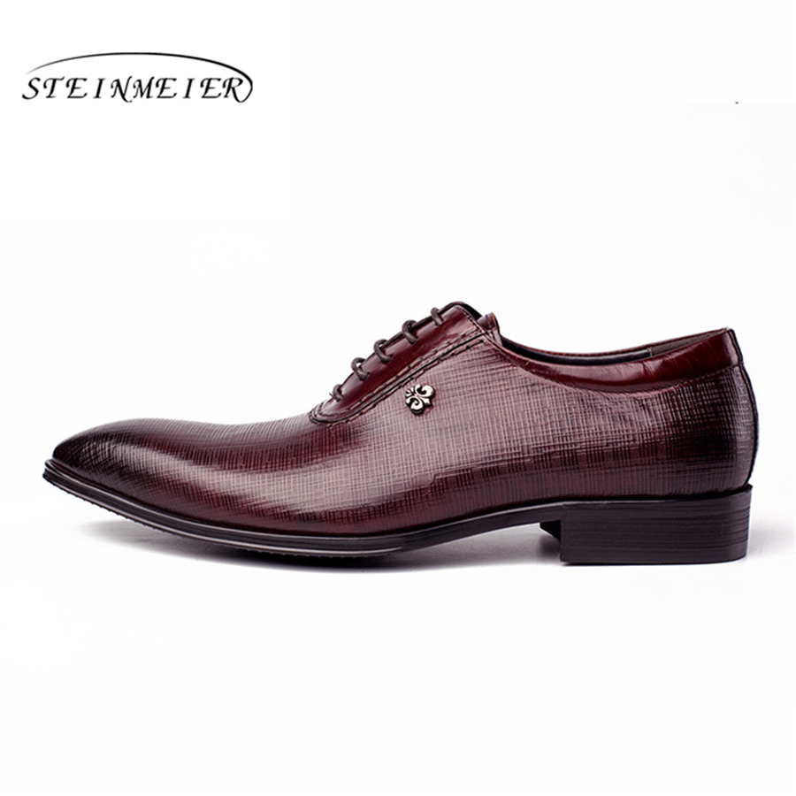 US $68.48 49% OFF|Men dress shoes Genuine cow leather brogue Wedding shoes mens casual flats shoes black burgundy oxford shoes for men spring in