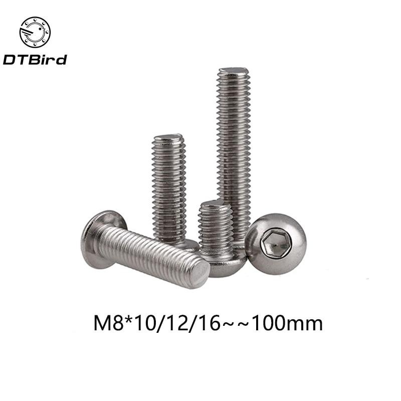 M8 Bolt A2-70 Button Head Socket Screw Bolt SUS304 Stainless Steel M8*(10/12/16/20/25/30/35/40/45/50/55/60/65/70/75/80~100) mm 100pcs m3 bolt a2 70 button head socket screw bolt sus304 stainless steel m3 4 5 6 8 10 12 14 16 18 20 22 25 30 35 40 45 50 mm