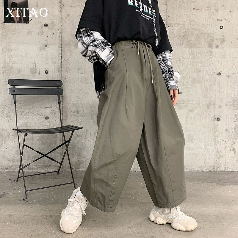 [XITAO] Loose Female Streetwear   Wide     Leg     Pants   Korea Fashion 2019 Spring Summer New Solid Color Ankle-length   Pants   ZLL3162