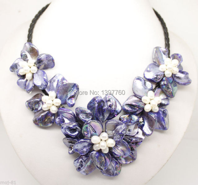 Miss charm Jew.123 18 Inche Purple Mop Shell Pearl Handmade Flower Pendant Necklace Fashion Jewelry
