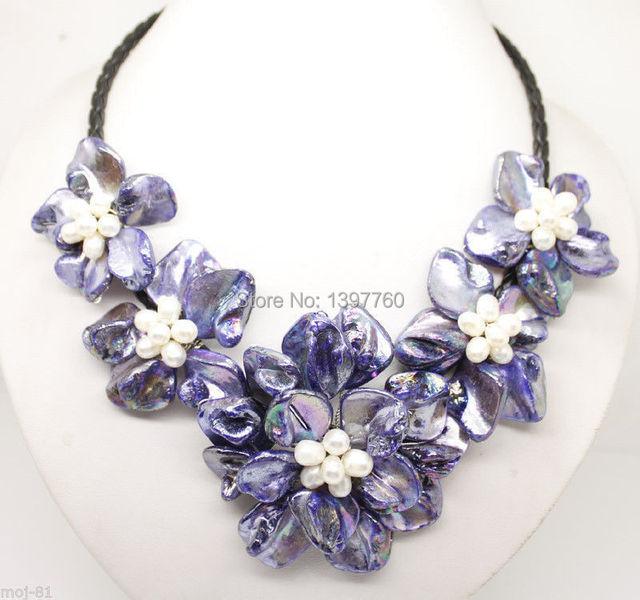 Miss charm Jew.123 18 Inche Purple Mop Shell Pearl Handmade Flower Pendant Necklace Fashion Jewelry