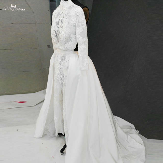 0d8dc80f1df RSW1139 Real Pictures Yiaibridal Long Sleeves High Neckline Jumpsuit  Backless Wedding Dresses Removable Skirt