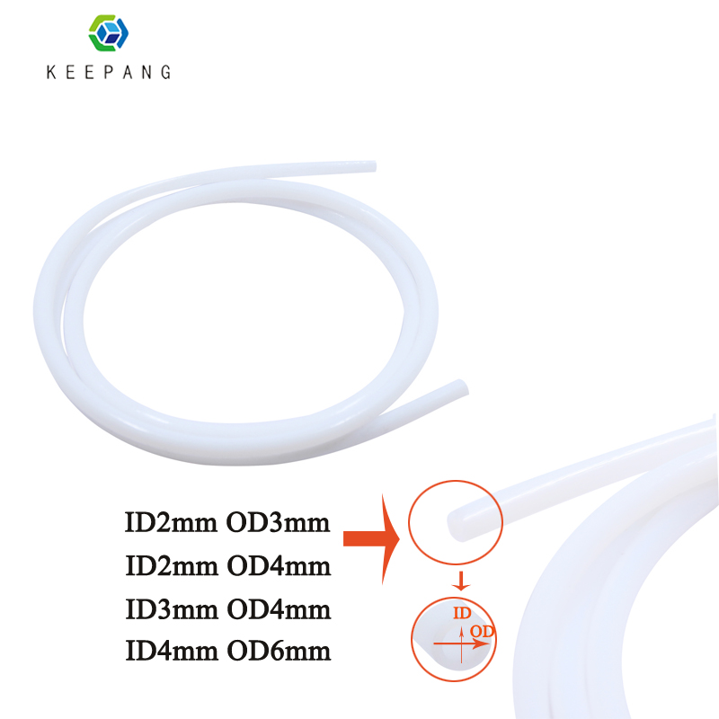 1M/PC White Teflon Tube For 3D Printer PTFE Tube Teflon PiPe J-head Hotend RepRap Rostock Bowden Extruder Feeding Tube 4 Size
