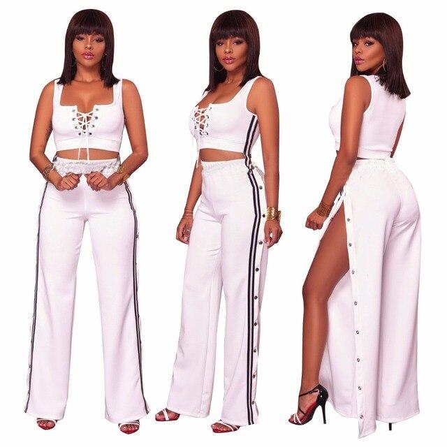 e5fc95eb1 2019 Moda Verão Mulheres roupas Sexy Plus Size duas peças set top colheita  Colhido Tops Calças