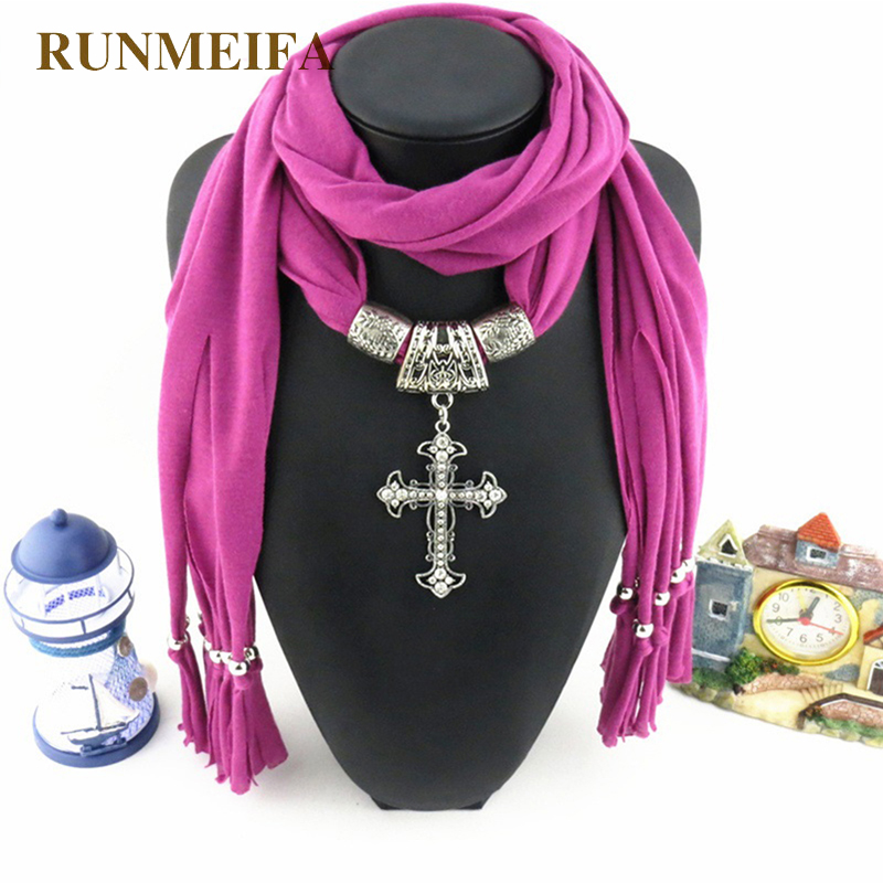 [RUNMEIFA] Scarves For Women 6 Colors Fashion Tassels Jewellery Scarf With Cross Pendant High Comfortable Silk Scarf Accessories