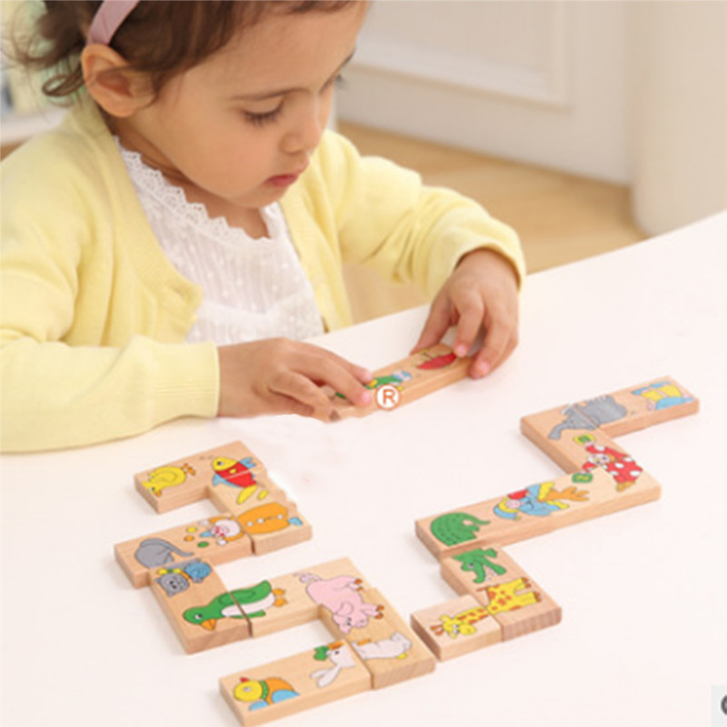 Hartig 15 Stks Baby Domino Dier Solitaire Speelgoed Houten Dier Domino Bouwstenen Speelgoed Vroege Educatief Speelgoed Kinderen Verjaardagscadeau Uitstekende (In) Kwaliteit