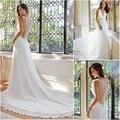 Free shipping Simple but Elegant Formal A Line V Neck See Through Beaded Back Long Chiffon Crystal 2016 Beach Wedding Dresses