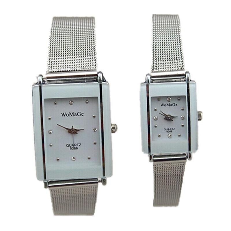 new couple lovers designer watch womage brand luxury mesh watch stainless steel watch women men fashion crystal quartz watch hot
