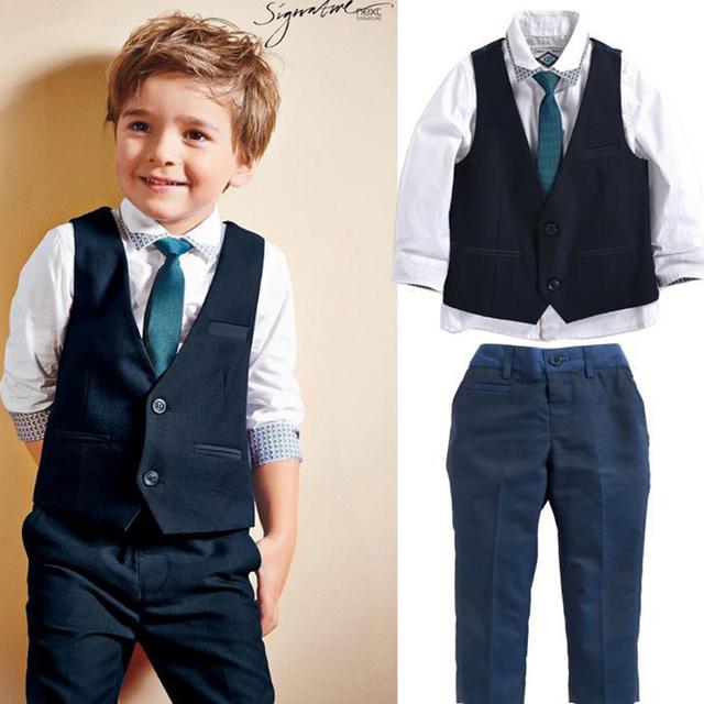 2015 Nuevos Bebés de Traje de Caballero, camisa + chaleco + pantalones + corbata, 4 unids/set niño traje a cuadros de moda Niños childre Envío gratis