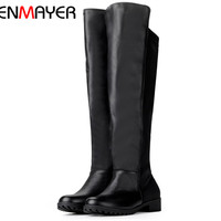 ANMAIRON Fashion Mixed Colors Knee High Boots For Women Sexy Wedding Casual Dress Shoes Winter Vintage