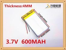 3.7V,600mAH,[403048] PLIB / polymer lithium ion / Li-ion battery for GPS,mp3,mp4,cell phone,speaker,DVR RECORDER