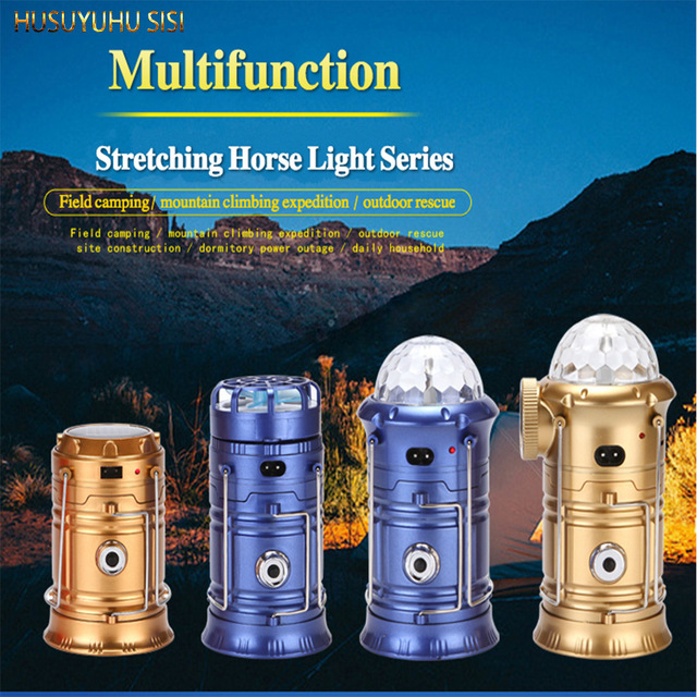 HUSUYUHU SISI Multifunctional LED Colorful Solar Camping Lights Stretching Camping Lights Bluetooth Speaker 7Color Stage Light