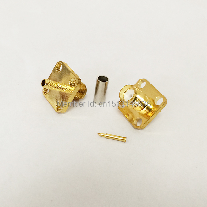 1pc RP-SMA  Female Jack RF Coax Modem Connector Crimp RG316 RG174 LMR100 4-hole Panel Mount Goldplated  NEW